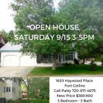 OPEN HOUSE SATURDAY 9/15 3-5PM